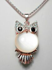 Owl pendant, cats eye + crystals, rose-gold colour - 30'' chain