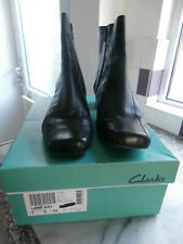 Clarks Ladies  black leather Ankle boots size 7 D good condition Boxed
