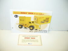 DINKY TOYS ATLAS fiche fascicule ref 581N berliet porte container BAILLY +certif