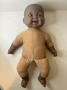 """African American Black Berenguer Baby Doll 18"""" Nude Cloth Body Good Condition"""