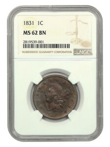 1831 1c NGC MS62 BN (Large Letters) Coronet Head Large Cents (1816-1839)