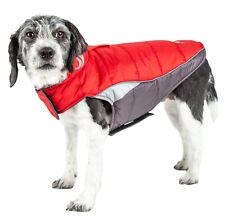 Helios Hurricane-Waded Plush 3M Reflective Dog Coat Red Large