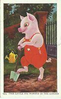 Anthropomorphic Pig This Little Pig Worked in the Garden Hanke Postcard 1974