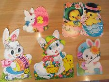 Five Vintage 1960-70's Easter Eggs, Chicks & Bunny Wall Window Decorations Used