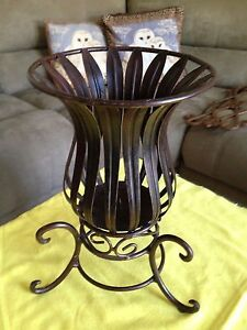 Pillar Candle Holder Metal Rustic Brown 12 inches tall