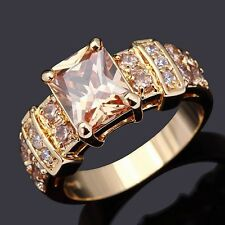 Breathtaking Size 7 Women Bridal Wedding Topaz 18K Gold Filled Rare Luxury Ring