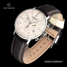 Junkers 40mm Bauhaus German Made Swiss Quartz Chronograph Leather Strap Watch