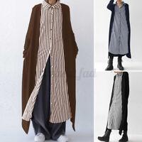 ZANZEA Womens Casual Loose Long Sleeve Dress Patchwork Striped Baggy Shirt Dress