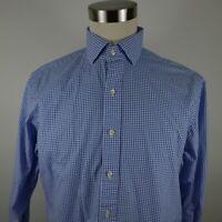 Polo Ralph Lauren Mens Classic Fit LS Button Up Blue White Plaid Shirt 16 32/33