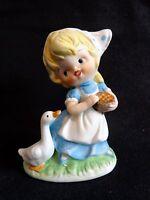 "HOMCO Figurine GIRL FEEDING DUCK Goose Blue Dress 3"" Porcelain Vintage"