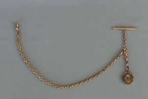 ANTIQUE GOLD METAL WATCH CHAIN WITH FOB