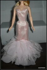 DRESS MATTEL BARBIE DOLL PALE PINK 2002 TULLE & FEATHER SILKSTONE EVENING GOWN