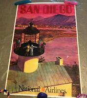 San Diego National Airlines Vintage Poster by Bill Simon - Good Condition