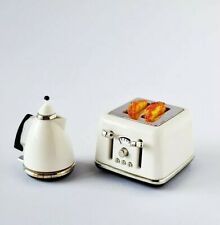 Miniatures Dolls House Accessories White Modern Toaster & Kettle set1:12th scale