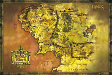 Poster Lord of the Rings Map Tolkien Books Literature Middle Earth