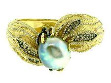 Large BAROQUE PEARL DIAMOND Bangle Bracelet Textured 18k Yellow Gold -   HM1493