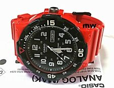 New Casio Men's Watch 100M Display Analog Quartz Red Rubber MRW-200HC-4B New