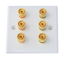 Slimline White 3.0 Audio AV Speaker Wall Face Plate/Bi Wire Gold 6 Binding Posts