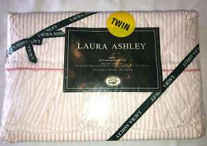 VINTAGE LAURA ASHLEY Twin Flat Sheet 200 Cale Ticking Stripe Pink New Old Stock