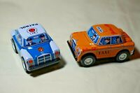 "VINTAGE Japan Tin Toy Sanko 3"" Friction Yellow Cab Taxi & Patrol Mercedes Car"
