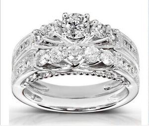 Five Stone Round Cut Silver Engagement Ring Set Bridal Set Wedding Ring