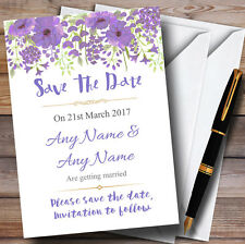 Watercolour Floral Purple Personalised Wedding Save The Date Cards