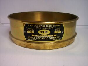 "8"" I/D U.S.A. STANDARD TESTING SIEVE NO.3/4"" SCREEN 19.9mm OR .750"" FISHER CO."