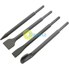 4PC SDS PLUS CHISEL SET FLAT POINT GROOVE GOUGE DRILL HAMMER DRILLS WOOD