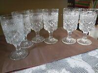 "Vintage Water Goblets, Anchor Hocking Wexford, 6 5/8"" Set of 6"