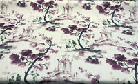 Asian Toile Purple Caino Cotton Drapery Upholstery Fabric by the yard