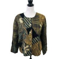 Coldwater Creek Jacket Blazer Petite XL PXL Multicolored Cotton Lined Sequin