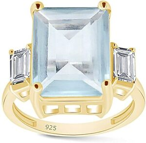 Simulated Aquamarine Emerald Cut Three Stone Ring For Her 14k Yellow Gold Over