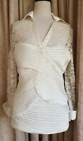QUEENSPARK Ivory Lace/Satin Top Size 14