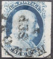 USA 1851-57 1c Franklin #7 VF-XF  Jumbo margin with date SEP 1 cancel cat. $210