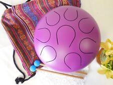"WuYou 10"" Handmade Steel Tongue Drum Handpan Theropy Meditation healing, Purple"