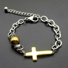 Cross Bracelet Bangle Chain Cuff Jewelry Mens Women Gold Silver Stainless Steel