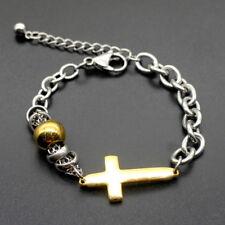 Chain Punk Cross Cuff Bracelet Jewelry Men's Silver Tone Stainless Steel Bangle