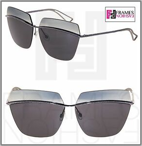 CHRISTIAN DIOR METALLIC Grey Gunmetal Silver Mirrored Metal Oversized Sunglasses