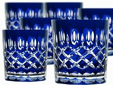 Lead Glass Whisky Glasses Roman 6 Piece (298 Car-B ) Blue Crystal Whisky Glass