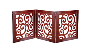 "Scroll Design Pet Dog Gate - Free Standing Tri-Fold - 19"" Tall 45"" Wide"