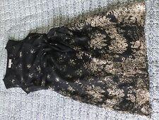 Lovely Laura Ashley Occasion dress size 10 Black beige chiffon tie waist wedding