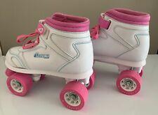 Chicago Girls' Quad Roller Skates White/Pink/Teal Sidewalk Skates, Size 3