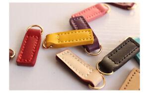 10pcs crafts zipper puller genuine leather replacement zip pull coat bag repair