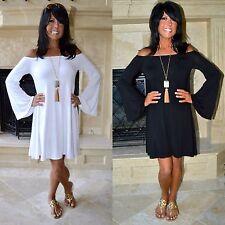 WHITE-BLACK Off Shoulder BOHO Long Bell Sleeve Flowy Knit Swing Dress Tunic S-L