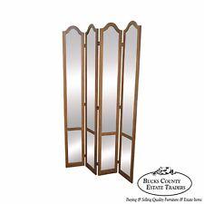 Hollywood Regency Mid Century Antiqued Mirror Folding Screen Room Divider