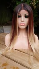 Light Brown Lace Wig, Chestnut Brown Ash Brown Blonde Highlights Lace Front Wig
