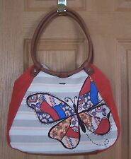 Relic® Teagan Ring Handle Butterfly Tan Canvas Tote Purse Handbag BRAND NEW