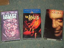 3 NEW Factory Sealed Horror VHS Movies. The Howling, Creepy Crawlers, Hannibal