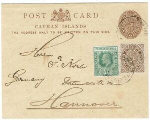 CAYMAN ISLANDS 1910 KEVII POSTCARD TO GERMANY