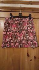 Topshop  Pink Floral Mini 60's Skirt Short Cord 10 Front Popper Art Deco Pattern